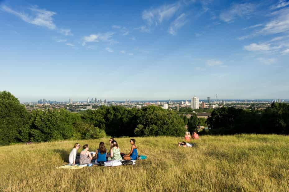 View from Parliament Hill on Hampstead Heath, London.
