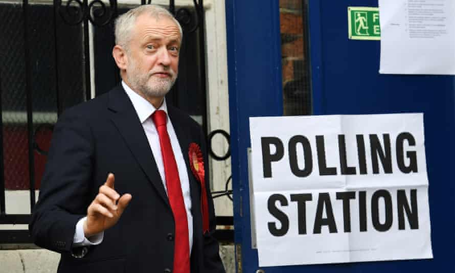 Jeremy Corbyn visits a polling station in Islington, north London, to cast his vote.