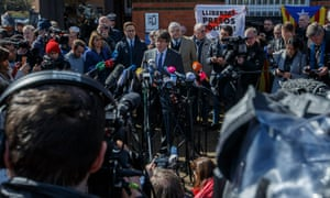 Carles Puigdemont speaks to the media after being released from the JVA Neumuenster prison.
