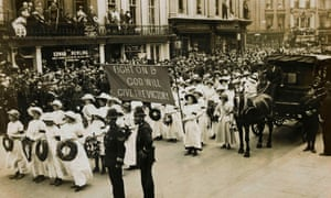 The funeral procession of militant activist Emily Davison.