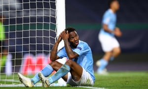 Raheem Sterling looks dejected after missing a sitter which would have put City back on level terms but then, a minute later, Lyon went and scored again.
