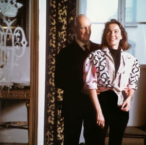 Emilio Pucci and his daughter, Laudomia, in the Palazzo Pucci, Florence, 1986.