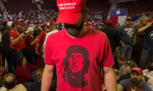 A trump supporter at a rally in Houston.