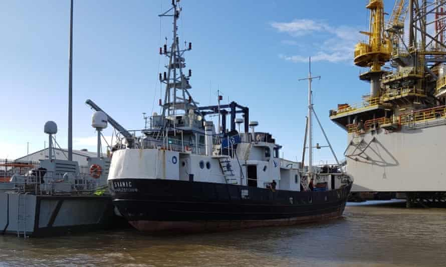 The fishing boat, intercepted by NCA off Great Yarmouth on Tuesday, in Harwich harbour.