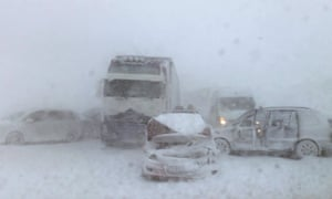 Wrecked cars on the snowbound D1 highway in Slovakia