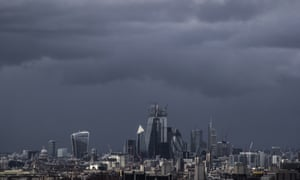 Storm clouds over the City of London