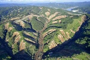 A huge swath of land has slipped near Atsuma town