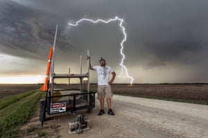 Jason Weingart on a lightning research project for the BBC series Wild Weather in Bennington, Kansas.