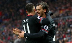 Manolo Gabbiadini, right, celebrates one of his goals for Southampton in the 4-0 win at Sunderland in the Premier League