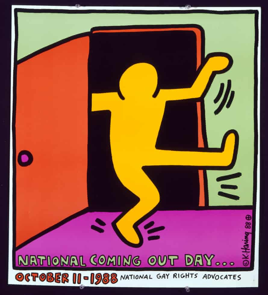 Keith Haring artwork, on display at the Art After Stonewall exhibition at the Leslie-Lohman Museum in New York, US.