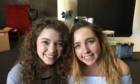 December Ensminger, left, from Arkansas, and Brooke Alyse, from Australia, have signed up to a social media camp in Los Angeles.