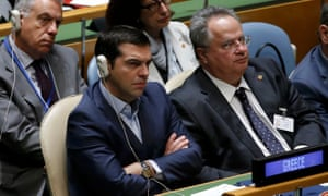 Greek prime minister Alexis Tsipras listens as US President Barack Obama addresses attendees during the 70th session of the United Nations General Assembly in Manhattan, New York, on 28 September.