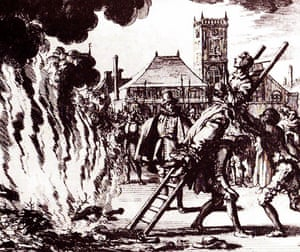The burning of an Anabaptist by the Inquisition in 1571, in an engraving by Jan Luyken.