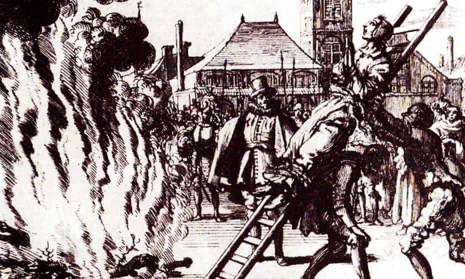 Dutch Anabaptist Anneken Hendriks was killed in Amsterdam in 1571 after being charged with heresy by the Spanish Inquisition.
