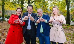 Nick Xenophon, leader of the Nick Xenophon Team, and his successful candidates Rebekha Sharkie, Stirling Griff and Skye Kakoschke-Moore.