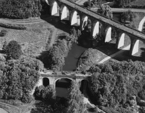 Bridges and viaduct over the Oise river, Ohis, France, 1992. From the Transmanche series Bird's Eye View
