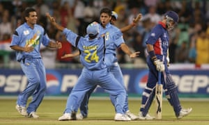 India's Ashish Nehra celebrates the wicket of Alec Stewart on their way to a pool-stage victory over England at the 2003 World Cup.