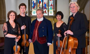 'Beethoven was a call to action' … David Timson (centre) as the composer, with the Dante Quartet to perform Beethoven's Quartet Journey.