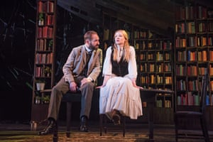 Fiennes as Halvard Solness and Sarah Snook as Hilde Wangel in The Master Builder by Henrik Ibsen at the Old Vic, London, directed by Matthew Warchus, in 2016.