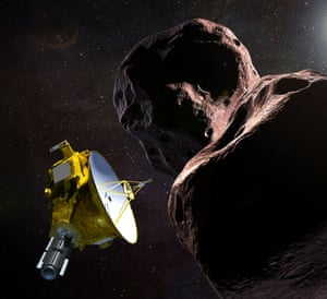 A NASA illustration of his New Horizons spacecraft encountering an object in the Kuiper Belt.
