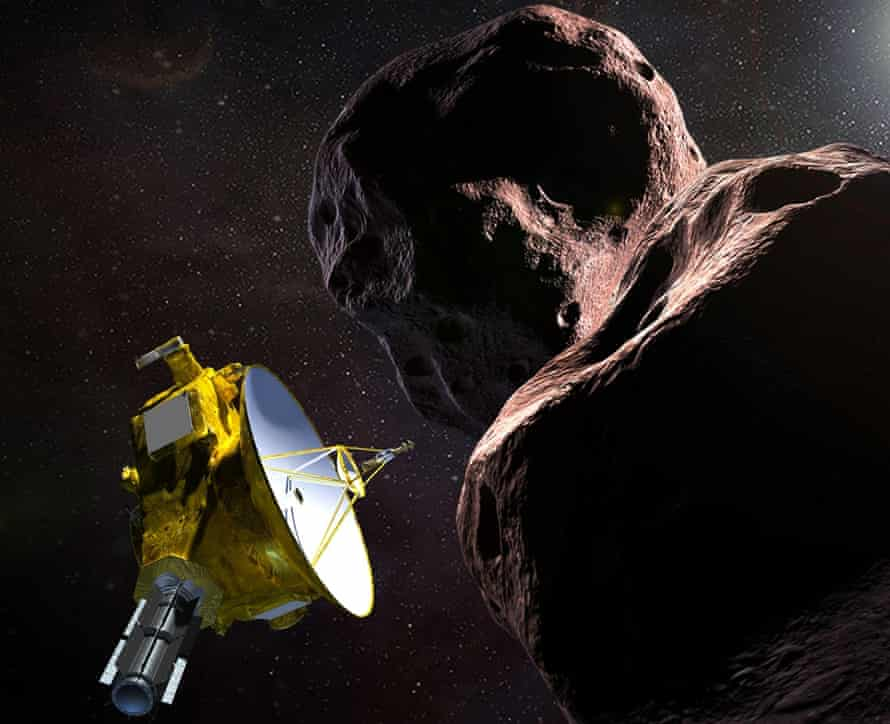 An artist's impression shows the New Horizons probe encountering Arrokoth in the Kuiper belt 1bn miles beyond Pluto.