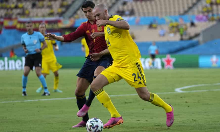 Alvaro Morata is thwarted by Sweden's Marcus Danielson.