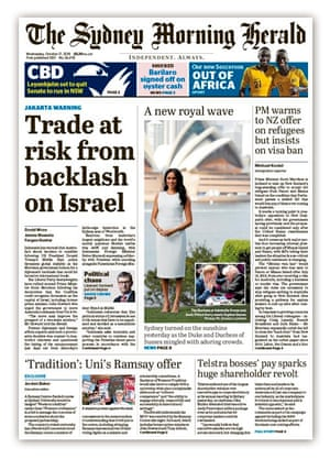 Front page of the Sydney Morning Herald October 17 2018