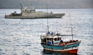 Asylum seekers intercepted by a boat off Christmas Island.