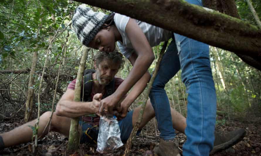 The climbers also assisted with the science – here, Mike Robertson helps Ana Gledis da Conceição-Miranda.