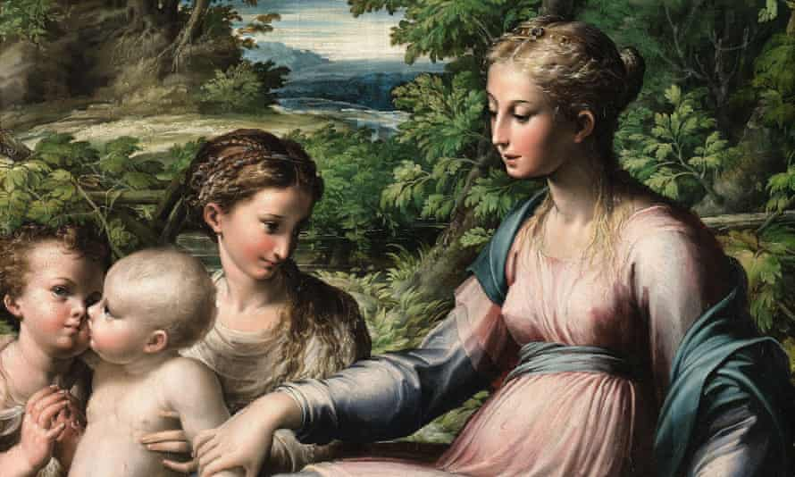 A detail from The Virgin and Child with Saint Mary Magdalen and the Infant Saint John the Baptist by Parmigianino.