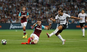 Astra Giurgiu's Filipe Teixeira scores the winning goal of the second leg of the Europa League play-off round in August, giving the Romanian side a 1-0 win at the London Stadium and a 2-1 aggregate triumph.