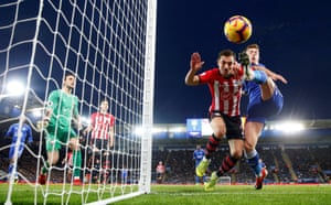 Southampton's Cédric Soares challenges Leicester City's Harvey Barnes at The King Power Stadium. The Saints won 2-1. Southampton have won two of Ralph Hasenhüttl's four away games in the Premier League, as many victories on the road in the competition as in Mark Hughes's full tenure at the club.