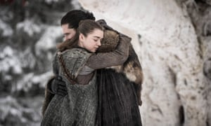 Maisie Williams, left, and Kit Harington in a scene from Game of Thrones