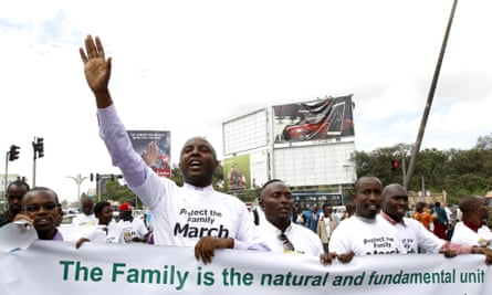 Kenyan MP Irungu Kang'ata leads the anti-gay caucus as they chant slogans against the LGBT community during a march in Nairobi, 6 July 2015