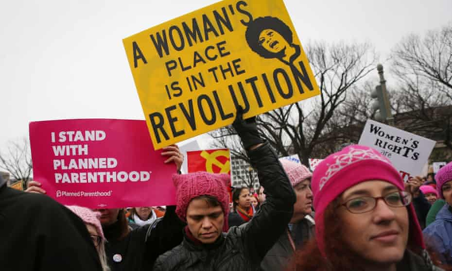 Protesters march during the Women's March on Washington on January 21, 2017 in Washington DC.