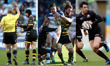 Left to right: Wasps' Danny Cipriani argues with referee John Lacey, Northampton's Tom Wood puts in the tackle on Castres' Horacio Agulla, and Saracens' Alex Lozowski runs with the ball