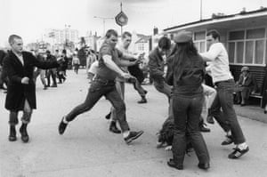 Skinheads on the attack at Southend-on-Sea, Essex, 7 April 1980. Downing's sequence won an honourable mention in the 1981 World Press Photo awards