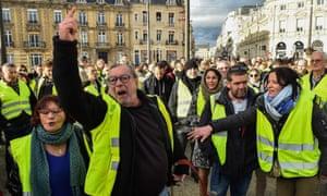 Gilets jaunes protestors in Le Mans, north-west France.