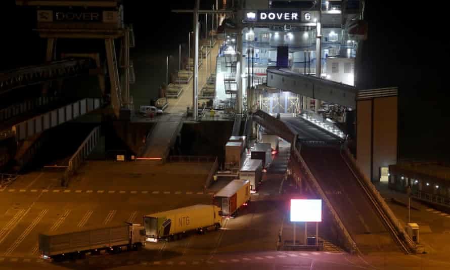 Lorries board a DFDS ferry