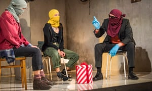 Simple staging … Danusia Samal, Aimee-Ffion Edwards and Paul Kaye in B at the Royal Court, London.