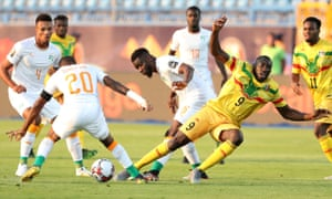 Mali's Moussa Marega in action with Ivory Coast's Ismael Traore.