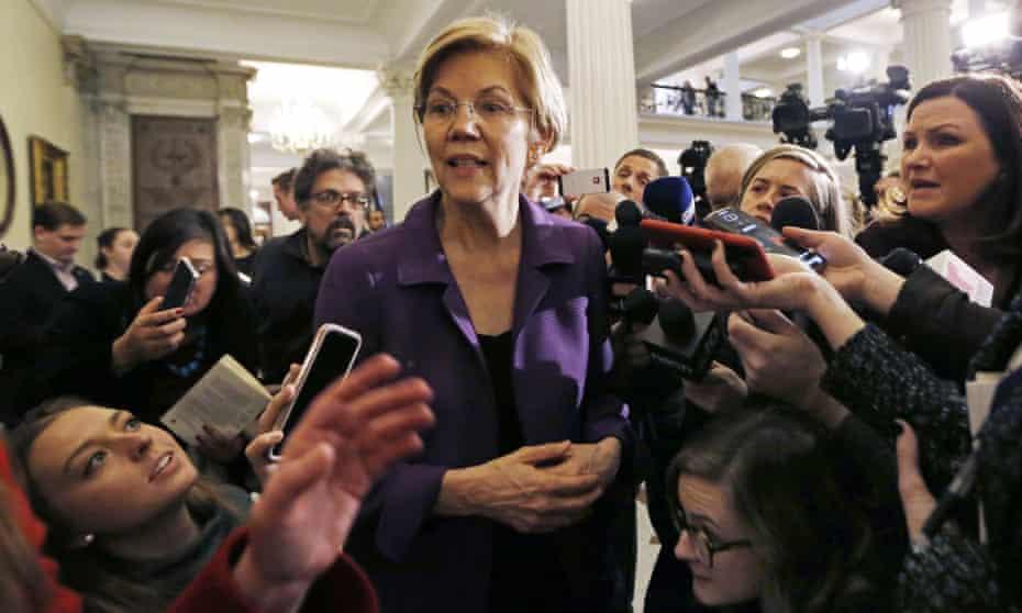 Elizabeth Warren in Boston on Wednesday.