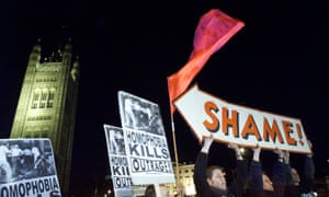 Protesters outside the House of Lords during the debate over repealing Clause 28, February 2000