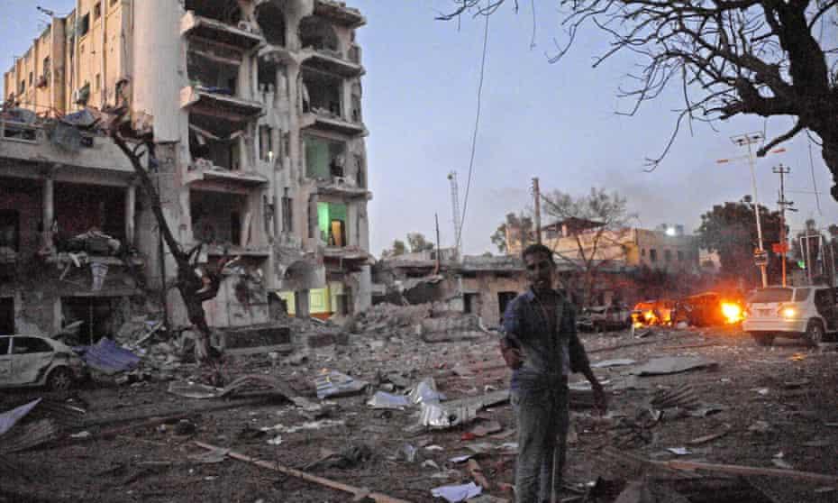 The Ambassador hotel in Mogadishu last week, where a suspected al-Shabaab attacker killed at least 15 people