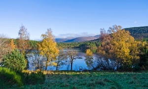 View across Loch an Eilein to the Cairngorm mountains beyond, Rothiemurchus