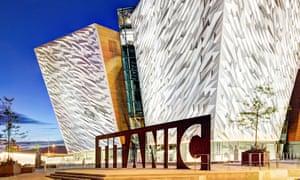 The exterior of the Titanic Belfast exhibition in Belfast, Northern Ireland.