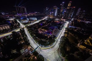 Marina Bay Street Circuit, Singapore: Lewis Hamilton of Great Britain driving the Mercedes W10 on track during practice for the F1 Grand Prix