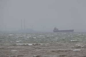 A ship is seen at anchor off Carrigaholt in County Clare, Ireland