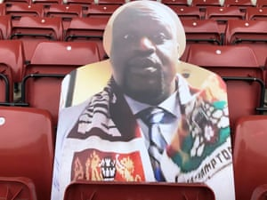 Shaquille O'Neal takes his seat at Northampton.