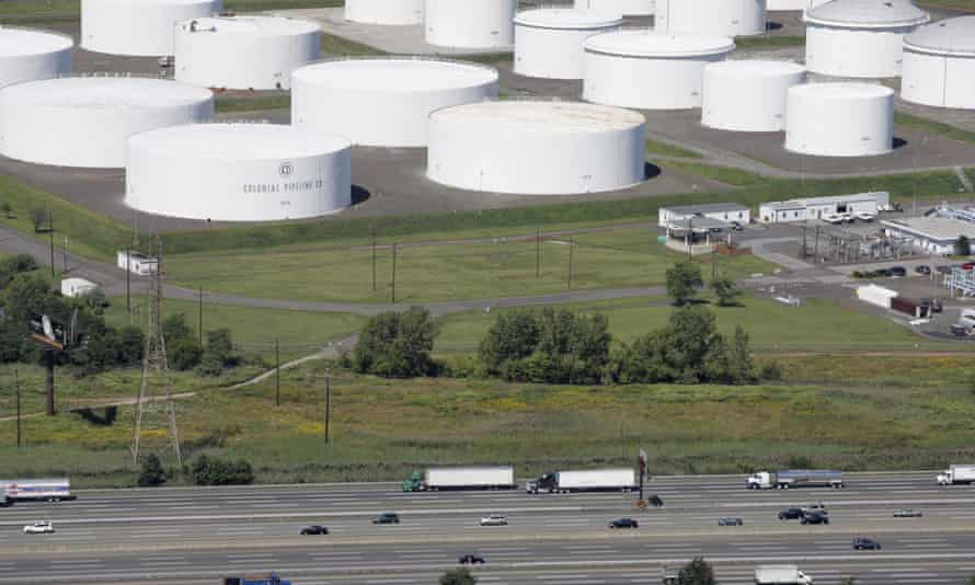 Oil storage tanks owned by the Colonial Pipeline Company in Linden, New Jersey.